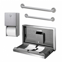 Composite, stainless steel bathroom accessories grab bars, toilet tissue dispenser.