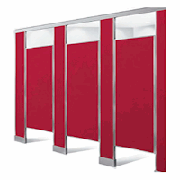 Rendering of red plastic laminate bathroom partitions, pilasters and doors.