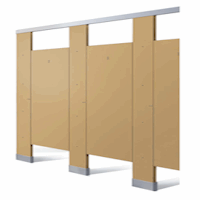 Render of beige colored toilet bathroom stall fronts.