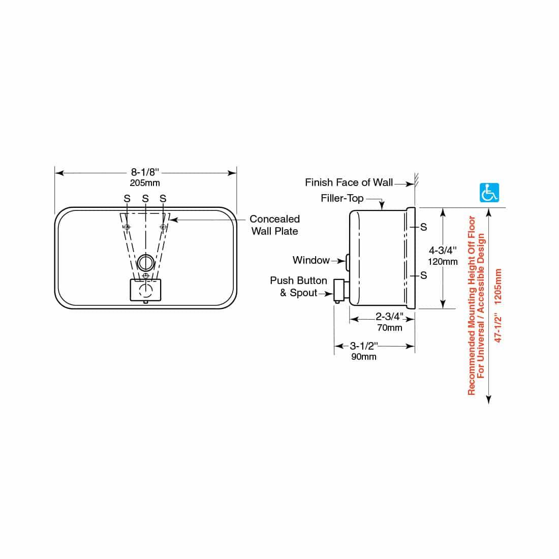 Bobrick Classic Surface Mount Soap Dispenser B 2112