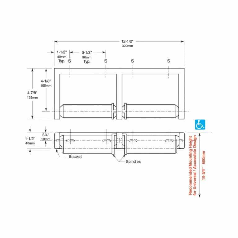 Detailed dimensions of Bobrick B-2740 two roll toilet tissue dispenser.