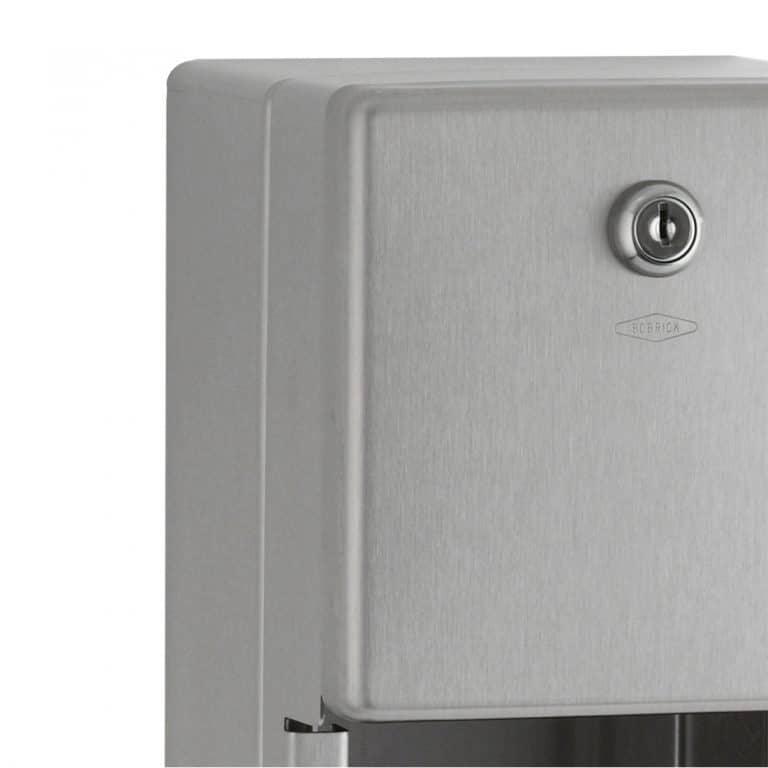 Lock detail of Bobrick B-2888 surface multi roll tissue dispenser.