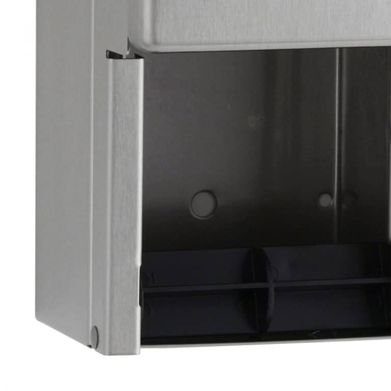 Spindle detail of Bobrick B-2888 surface multi roll tissue dispenser.