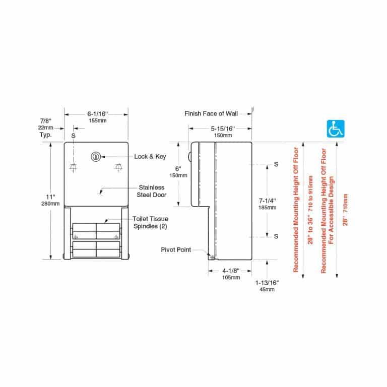 Detailed dimensions of Bobrick B-2888 surface multi roll tissue dispenser.