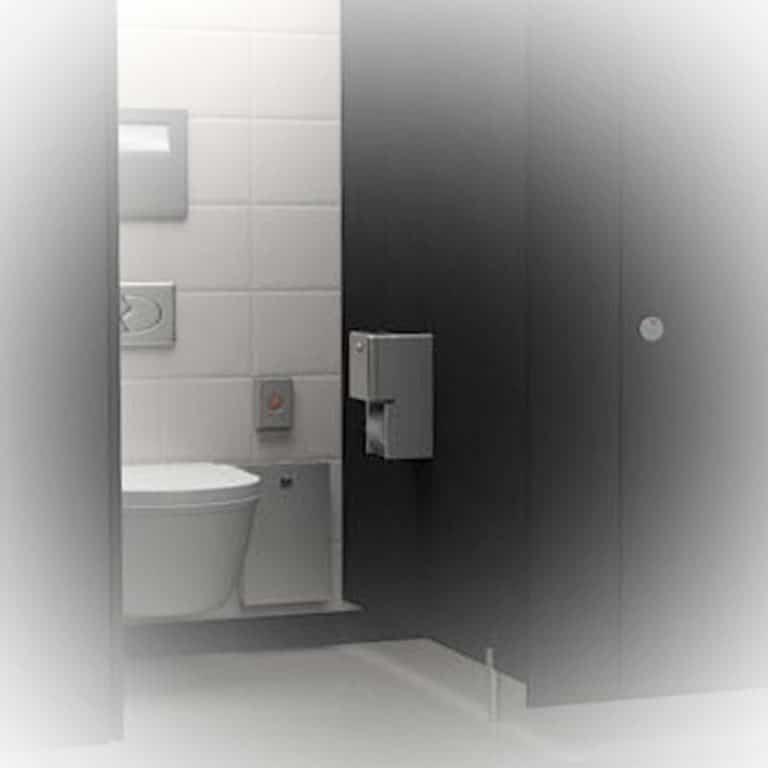 Bobrick B-2888 surface mount multi roll toilet tissue dispenser installed.