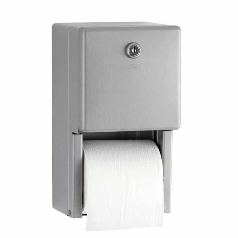 Bobrick B-2888 surface multi roll toilet tissue dispenser shown full.