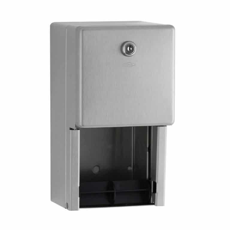 Bobrick B-2888 surface multi roll toilet tissue dispenser against white