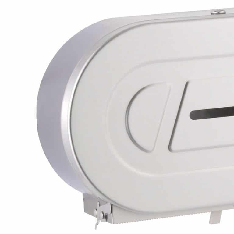 Detail of the Bobrick B-2892 twin jumbo toilet tissue dispenser.