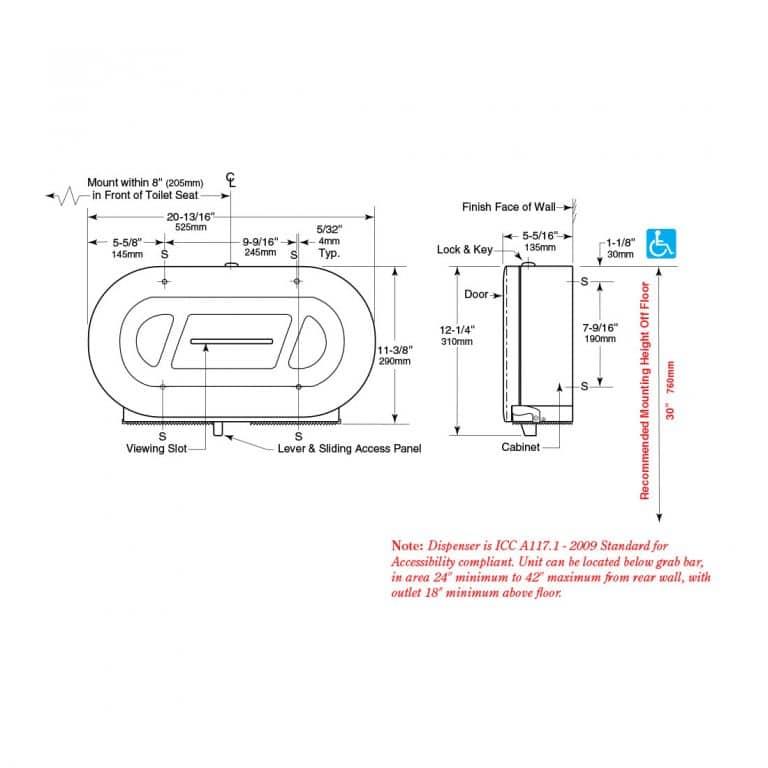 Dimensions of the Bobrick B-2892 twin jumbo toilet tissue dispenser.