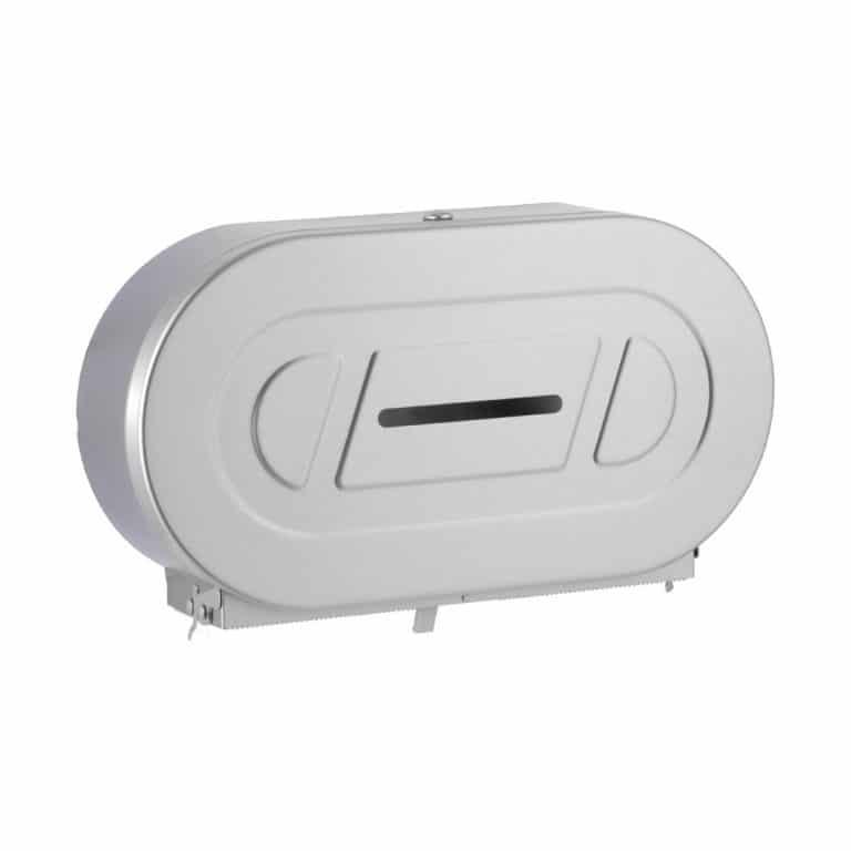Bobrick B-2892 Classic twin jumbo toilet tissue dispenser against white.