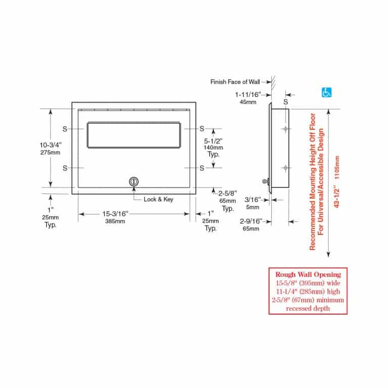 Detailed dimensions of Bobrick B-301 ClassicSeries recessed seat cover dispenser.