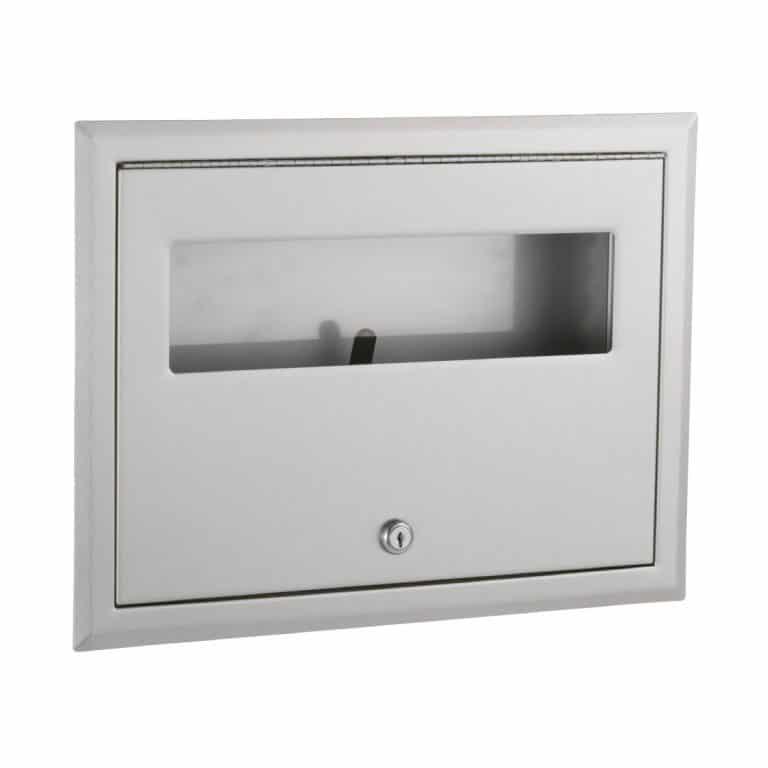 Bobrick B-301 ClassicSeries recessed seat cover dispenser shown against white.
