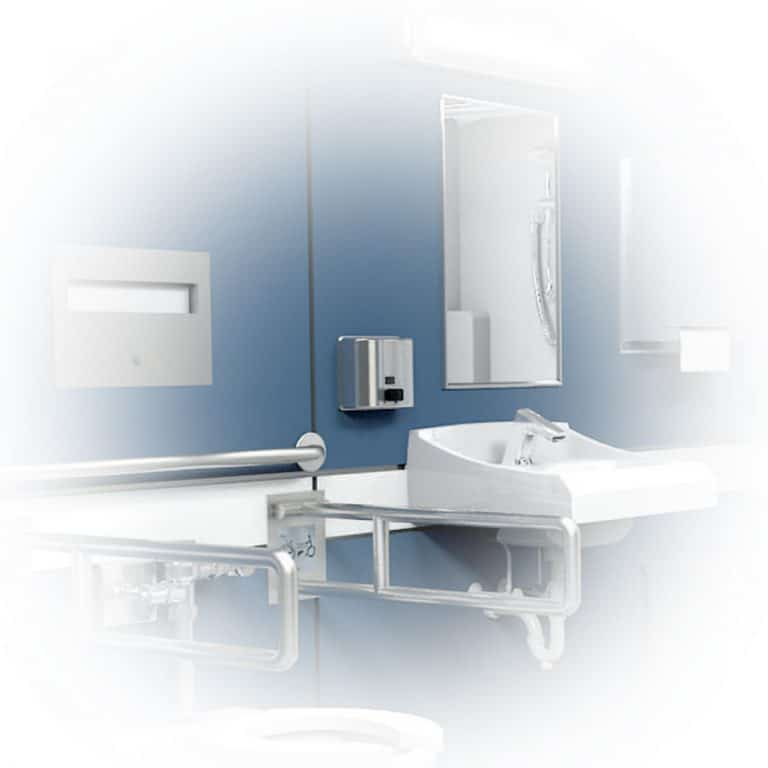 Bobrick B-4112 ConturaSeries surface mount soap dispenser in hospital bathroom.