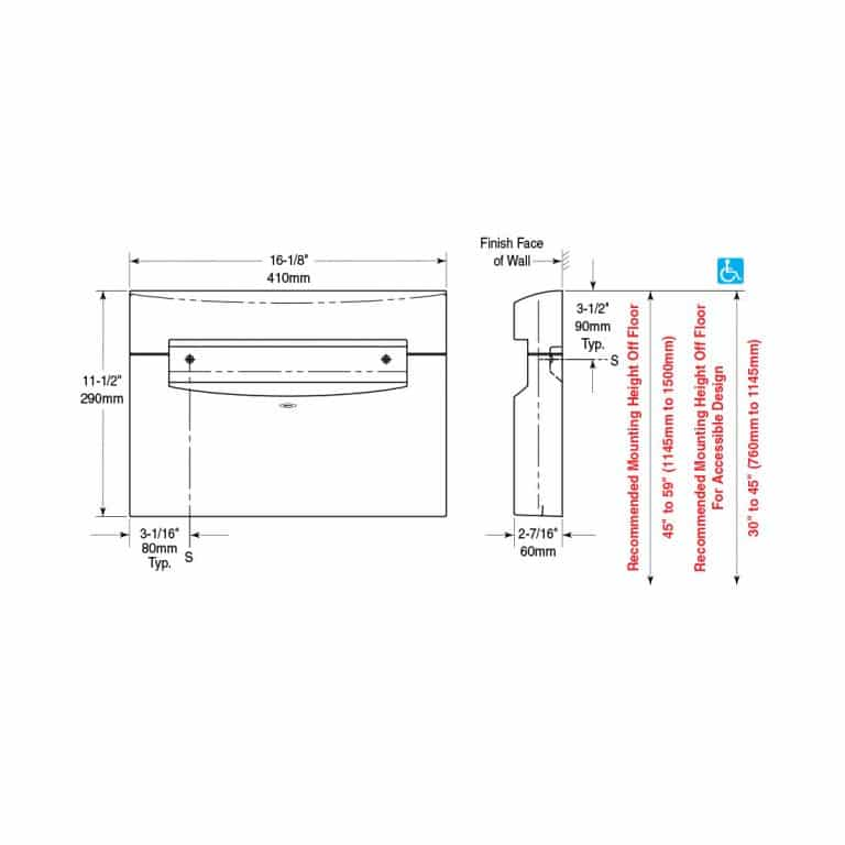 Dimensions of Bobrick B-5221 MatrixSeries surface mount seat cover dispenser.