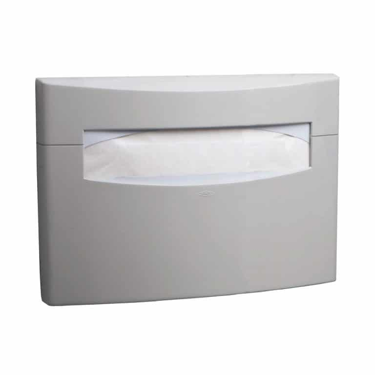 Bobrick B-5221 MatrixSeries surface mount seat cover dispenser against white.