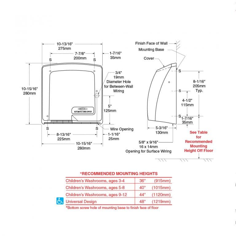 Detailed dimensions of Bobrick B-710 CompacDryer surface mounted hand dryer.