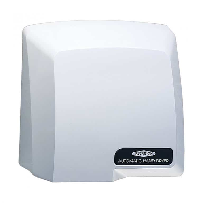 Bobrick B-710 CompacDryer surface mounted hand dryer, gray against white.