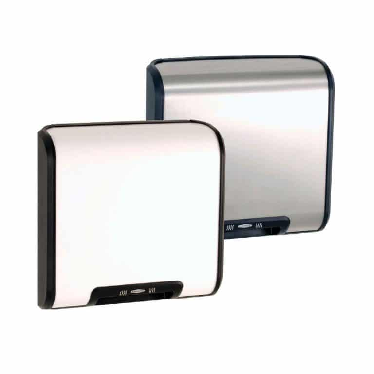 Bobrick B-7120 QuietDry TrimDry hand dryer in white and stainless.