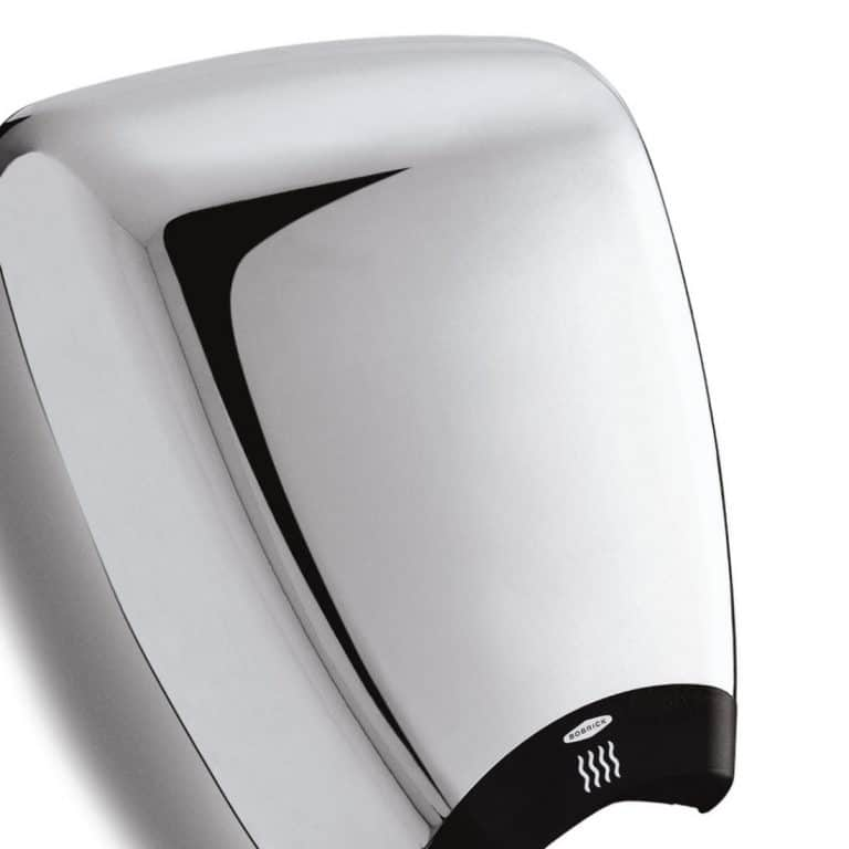 Bobrick B-770 QuietDry DuraDry surface mounted hand dryer in chrome.