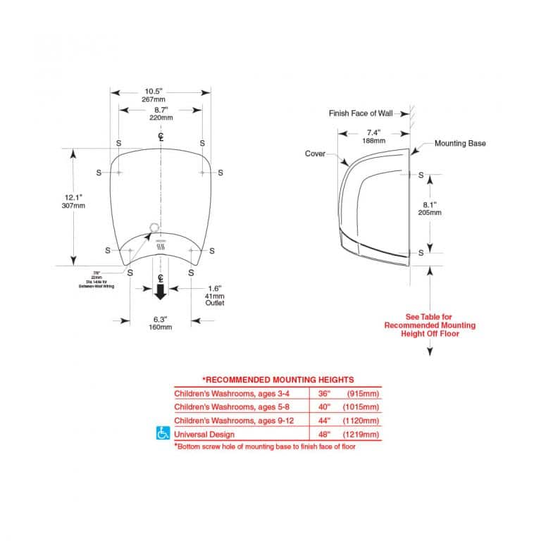 Detailed dimensions of Bobrick B-770 QuietDry DuraDry surface mounted dryer.