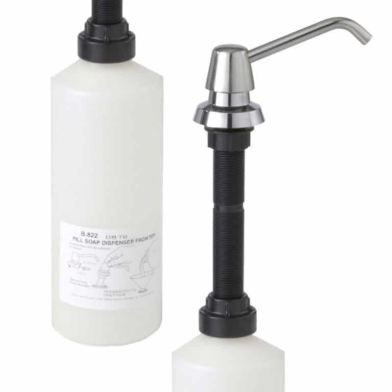 Bobrick B-822 lavatory vanity mounted soap dispenser shown against white.