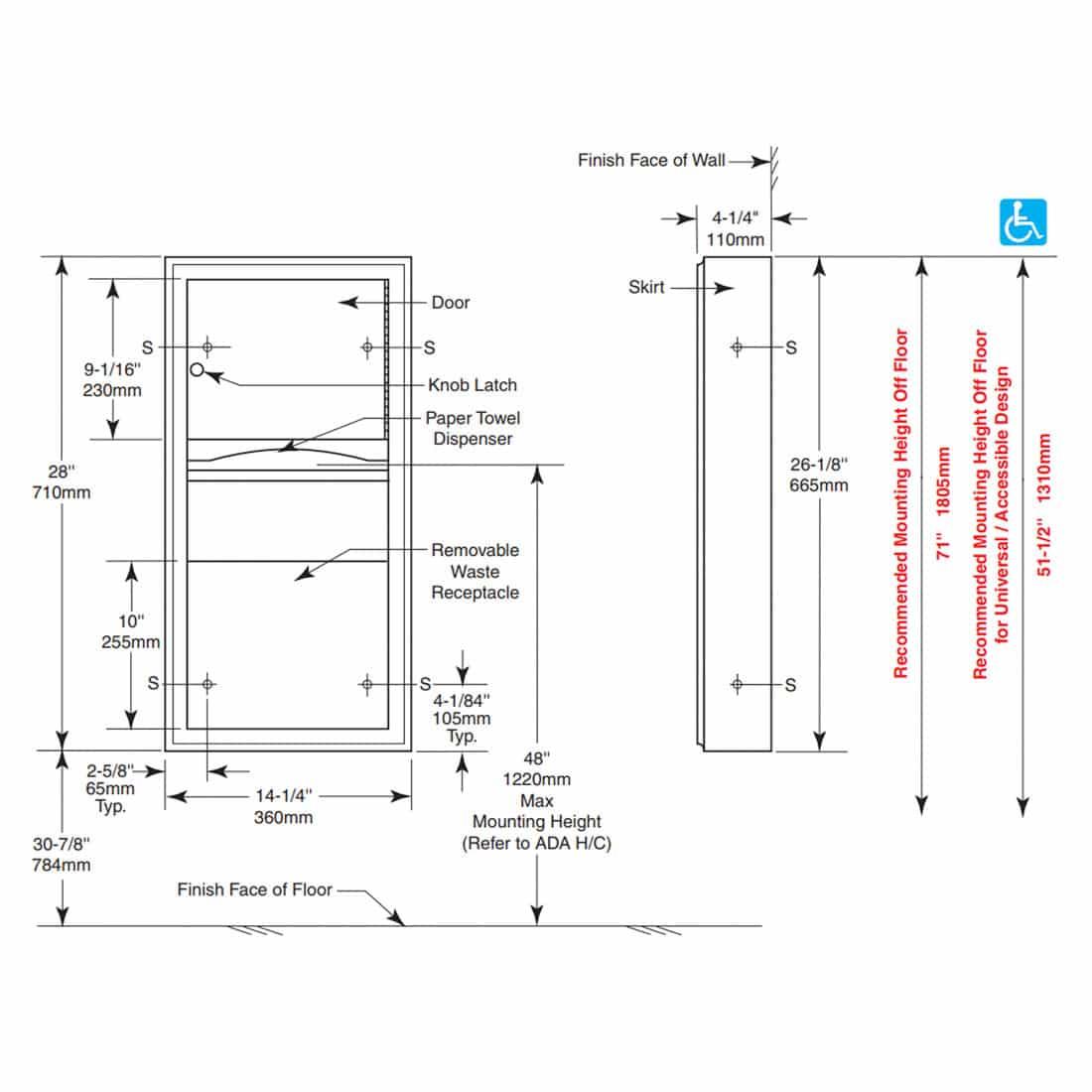 Bobrick Surface Towel Waste Unit B 3699 Partition Plus
