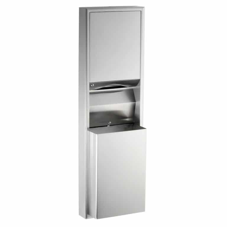 Bobrick B-3949 surface convertible paper towel dispenser and waste receptacle