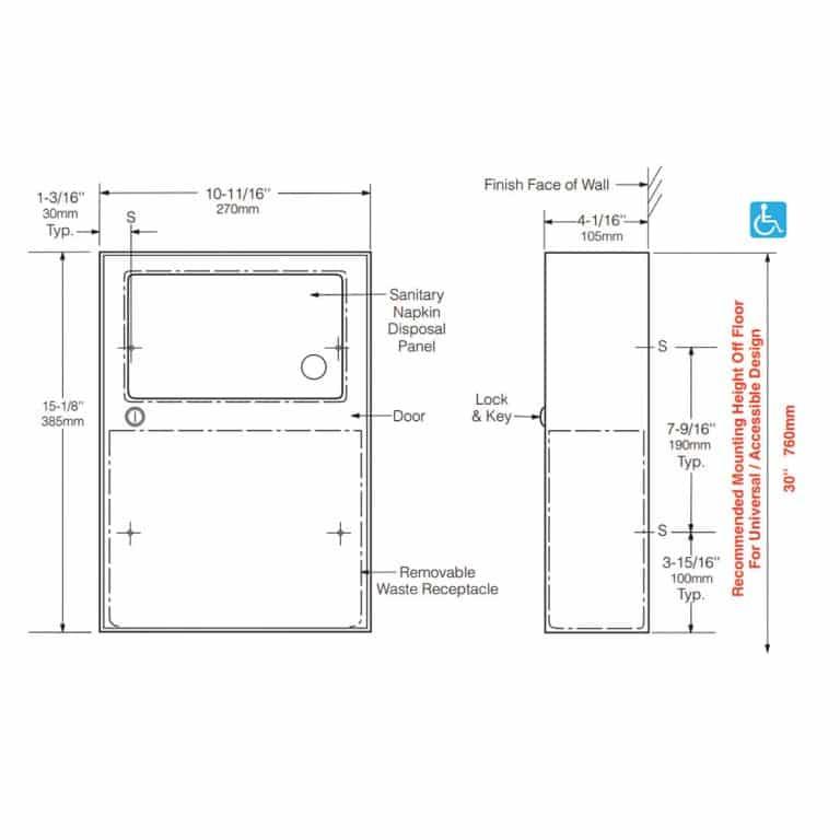 Detailed dimensions of Bobrick B-254 surface mounted sanitary napkin disposal.