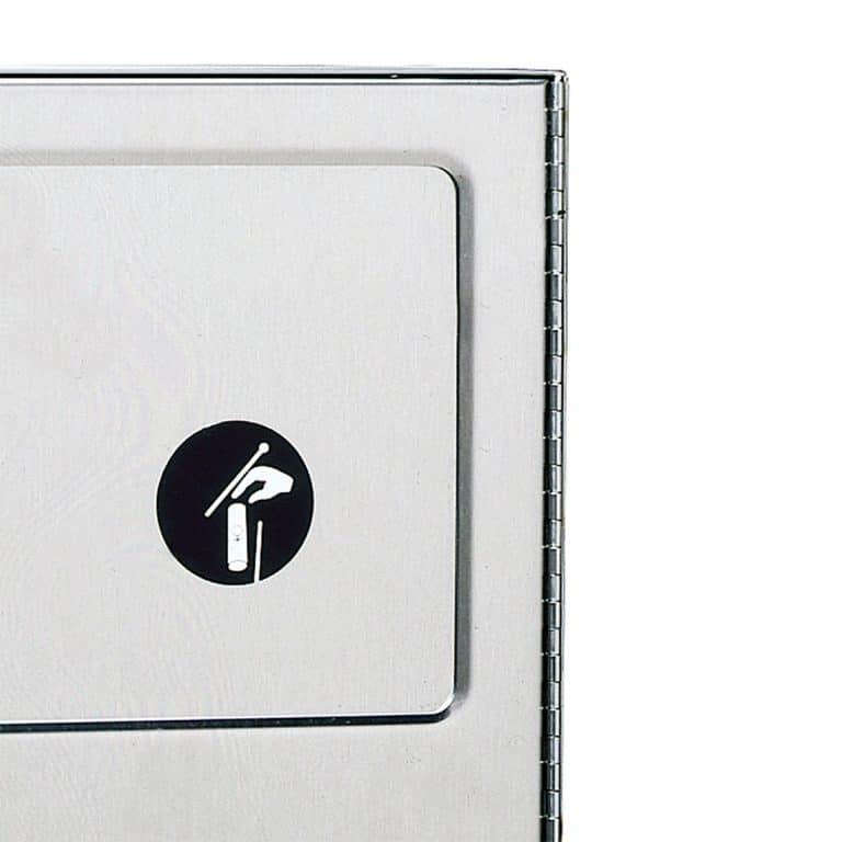 Door detail on Bobrick B-254 surface mounted sanitary napkin disposal.