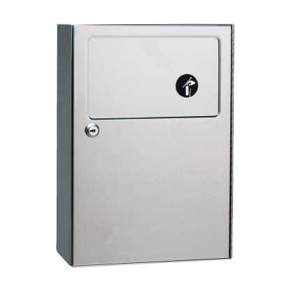 Bobrick B-254 surface mounted sanitary napkin disposal against white background.