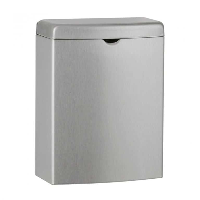 Bobrick B-270 Contura surface mounted sanitary napkin disposal against white.