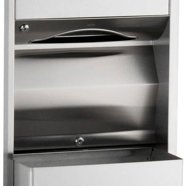 Detail of Bobrick B-3944 recessed convertible towel dispenser waste receptacle
