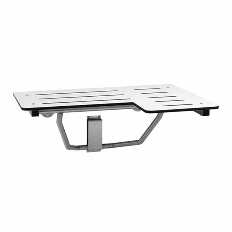 Bobrick B-5181 reversible solid phenolic folding shower seat against white.