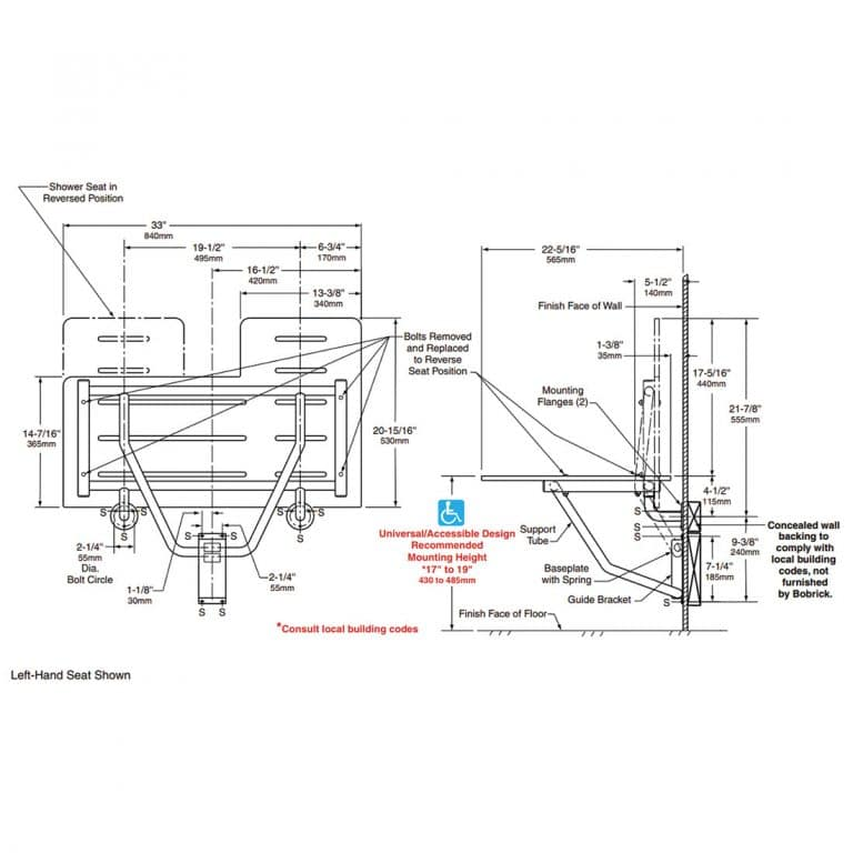 Dimensions of Bobrick B-5181 reversible solid phenolic folding shower seat.