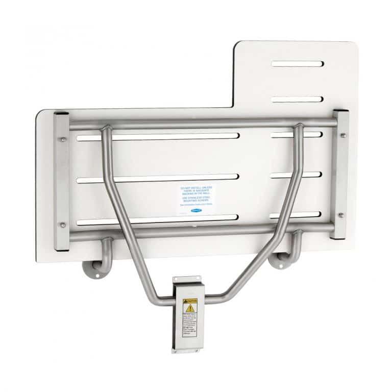 Underside detail of Bobrick B-5181 reversible phenolic folding shower seat.
