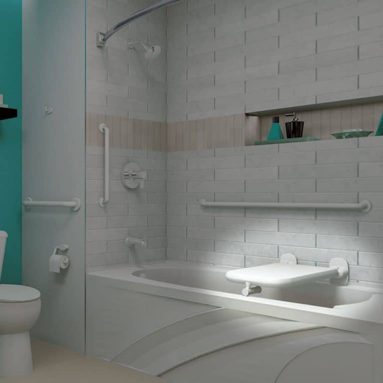 Bobrick B-518116 vinyl coated bathtub seat in contemporary home bathroom.