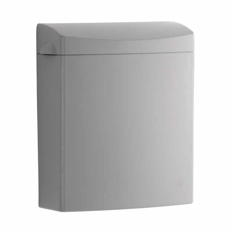 Bobrick B-5270 surface mounted sanitary napkin disposal pictured against white.