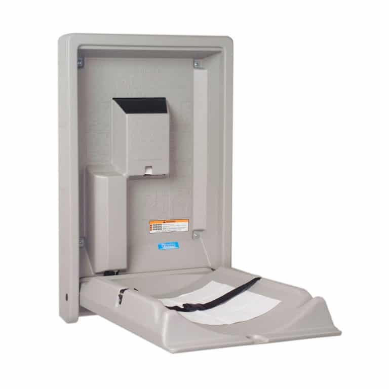 Koala Kare KB101 wall mounted baby changing station open gray.