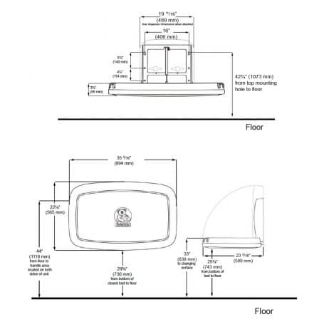 Detailed dimensions of Koala Kare KB200 wall mounted changing station.