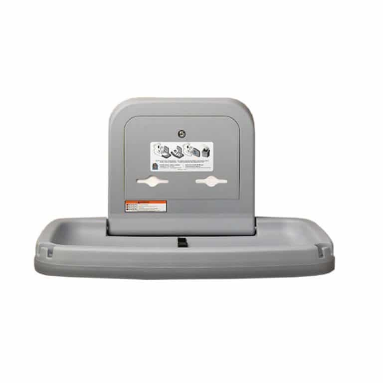 Koala Kare KB200 horizontal wall mounted changing station in gray.