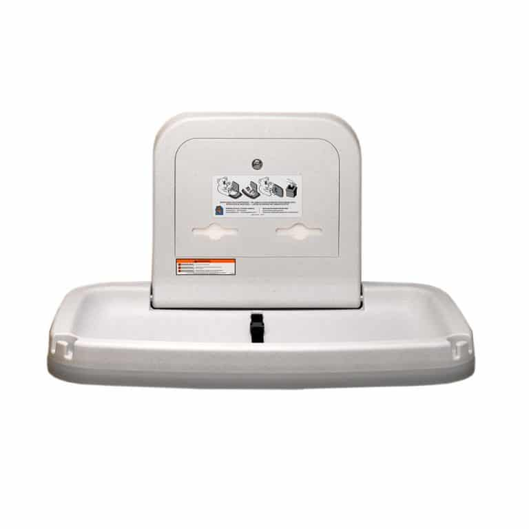 Koala Kare KB200 horizontal wall mounted changing station in white granite.