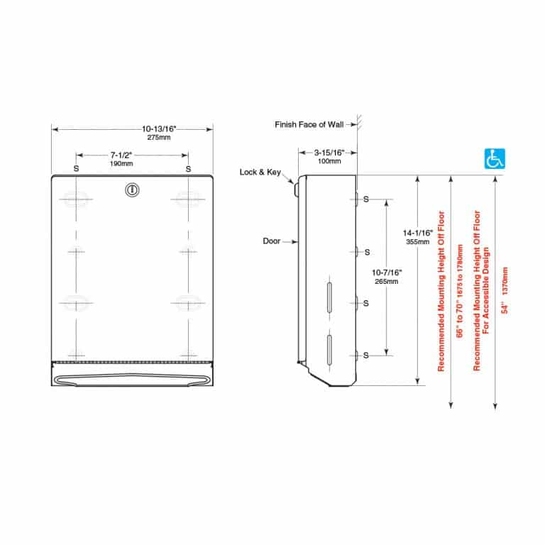 Detailed dimensions of Bobrick B-262 surface folded paper towel dispenser.