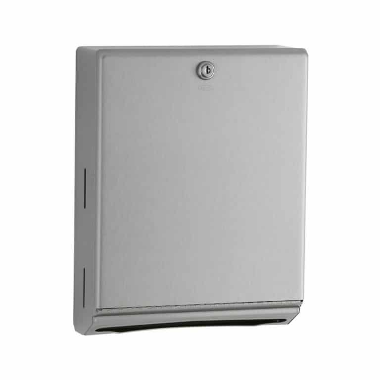 Bobrick B-262 surface mounted folded paper towel dispenser against white.