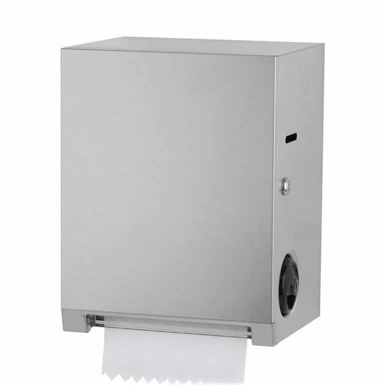 Bobrick B-2860 surface mount roll paper towel dispenser with paper.