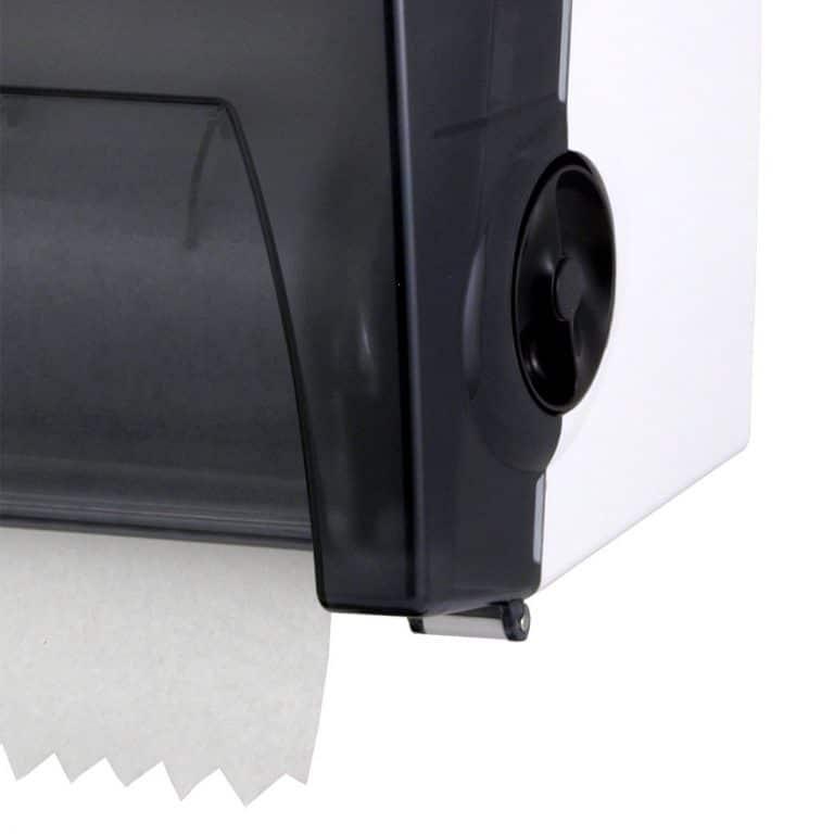 Detail of Bobrick B-72860 surface mounted roll paper towel dispenser.