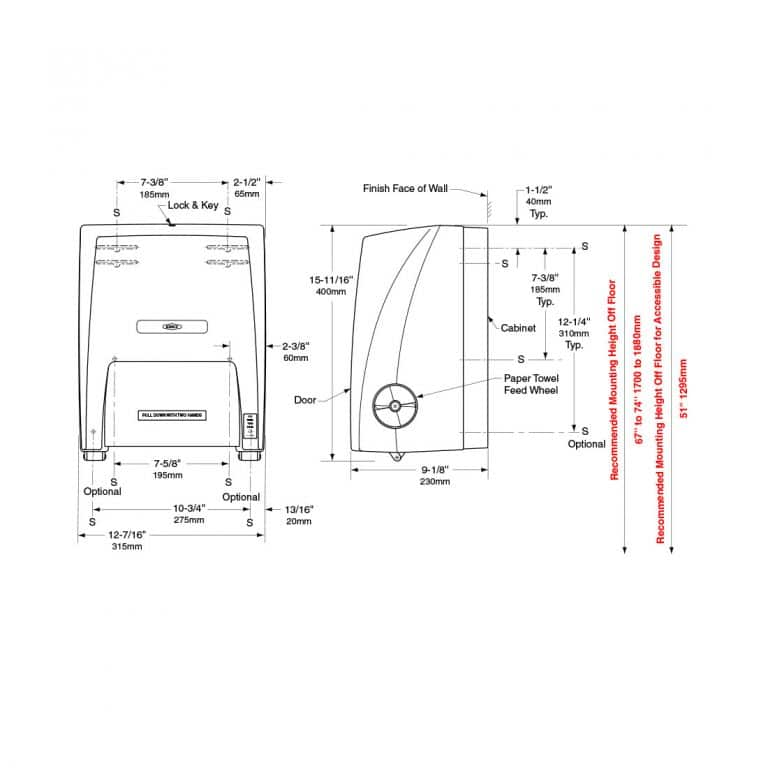 Dimensions of Bobrick B-72860 surface mounted roll paper towel dispenser.
