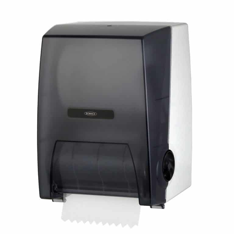 Bobrick B-72860 surface mounted roll paper towel dispenser with towel.
