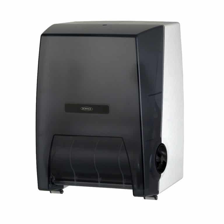 Bobrick B-72860 surface mounted roll paper towel dispenser against white.