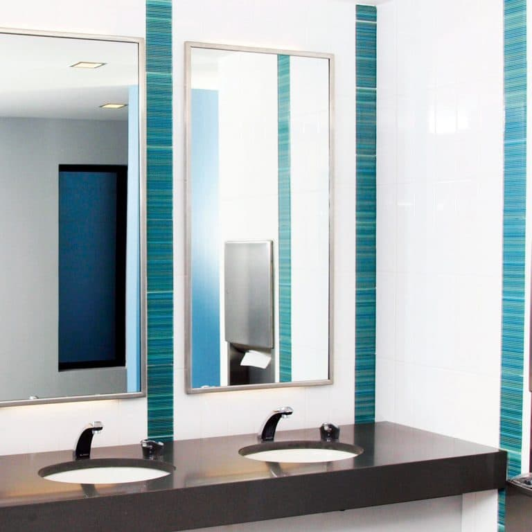 Bobrick B-165 Stainless Steel Channel Frame Mirror installed in restroom