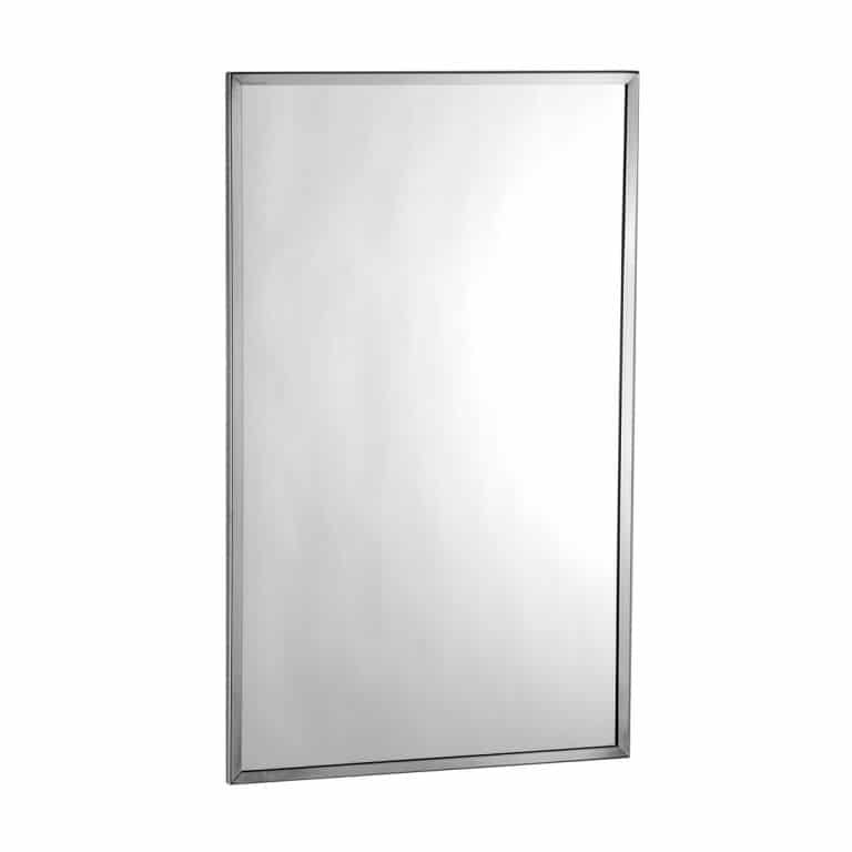Bobrick B-165 Stainless Steel Channel Frame Mirror against white background